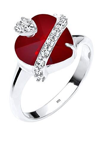 Elli Damen-anillo en forma de corazón con cristales de Swarovski Elements 925 plata corte brillante Rojo