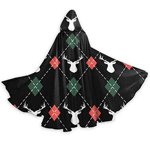 X-Peach Xmas Reindeer Plaid Adult Christmas Halloween Hooded Cloak Cape Print Witch Wizard Robe Cosplay Costume