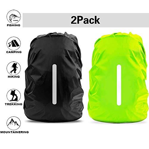 FXCIST 2er Regenhülle Rucksack Schulranzen Regenschutz wasserdichte Regenüberzug Ranzen Rucksackschutz für Outdoor Camping Wandern mit Reflektorstreifen Sicherheitshülle (30L-40L) (Schwarz+Grün)