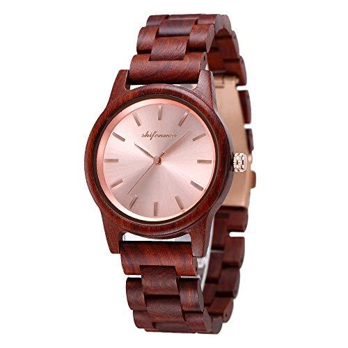 Holzuhr Damen, Minimalistisch Holzuhr für Damen Holz-Uhr Analog Quarzuhr Armbanduhren Damen mit Holz-Geschenkbox S5551W