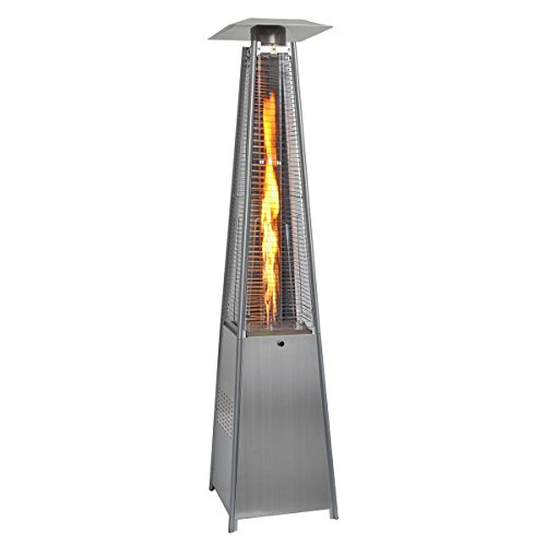 Casart Outdoor Heater - 13KW Silver Stainless Steel Gas Flame Tube Pyramid W/Wheel Garden Patio