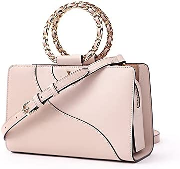 TUSCAN'S Women Clutch Handbag, Metal Ring Handle Evening Bag for Women Formal Party Handbag Shoulder Bag