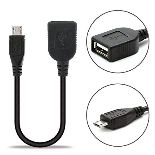 subtel® USB OTG Kabel kompatibel mit Huawei P Smart (2019) / P10 Lite / Y7 (2018) / Y6 (2018) / P8 Lite (2017) OTG Adapter Micro USB USB Host Kabel PVC On The Go Adapter schwarz OTG Stecker Anschluss