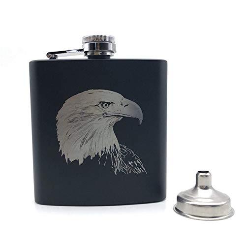 HIUGHJ Vodka Wine Pot Aquila Stile Americano Fiaschetta Nera 6 Oz Fiaschetta Personalizzata in Acciaio Inossidabile Aquila Whisky alcolico, American Eagle