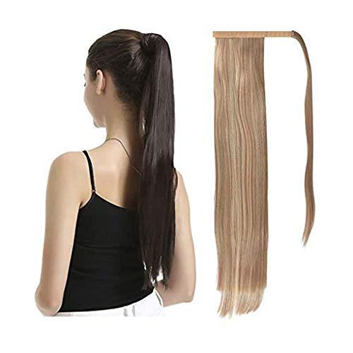 Perruques Y Dwayne 26 Pouces Ponytail Extension Longue Ligne Droite Enroulable Piece Cheveux for Les Femmes de Cheveux synthétiques for Usage Quotidien (Color : Light Ash Brown+Bleach Blonde)