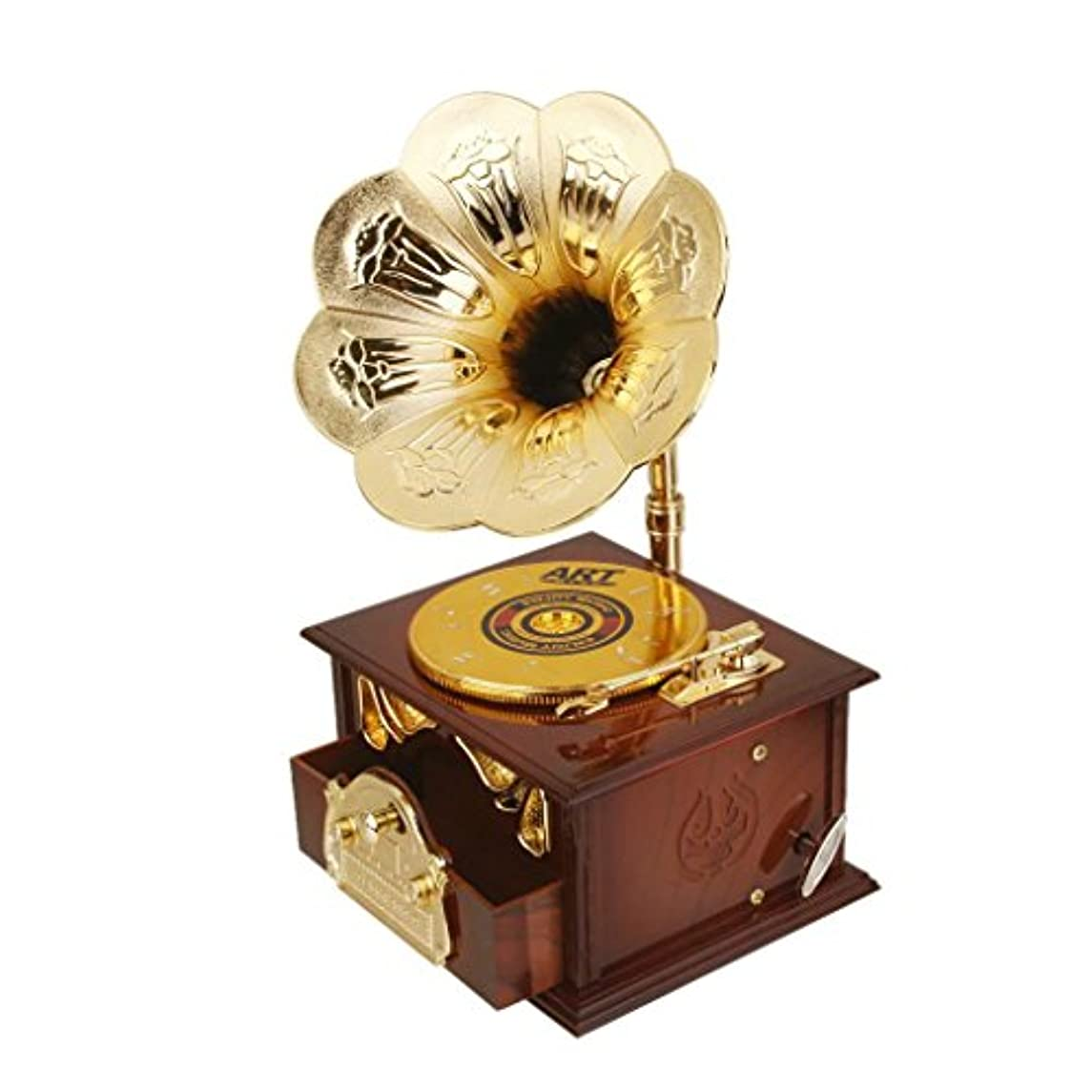 Wind up Music Box Vintage Look Music Box with Jewelry Box - Table Desk Decoration and Gift (Disc Machine, Brown)