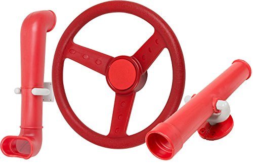 Swing Set Stuff Periscope Telescope and Steering Wheel Kit SSS Logo Sticker Swing Set Attachment, Red