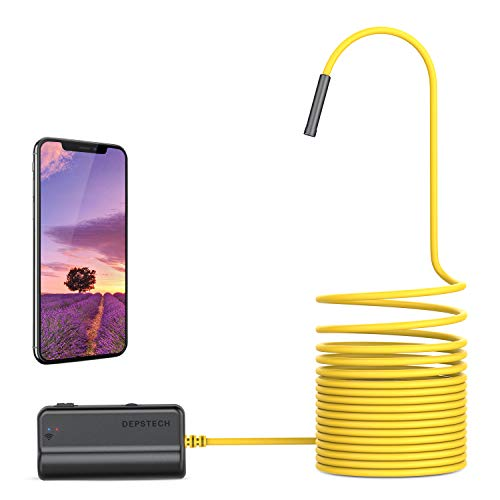 DEPSTECH Endoskopkamera WiFi Endoskop Upgrade 5.0 Megapixel 1944P HD Inspektionskamera mit 2600mAh Akku Halbstarre Schlangenkamera Brennweite 40cm für Android,IOS,iPhone,Smartphone,Tablet-5M