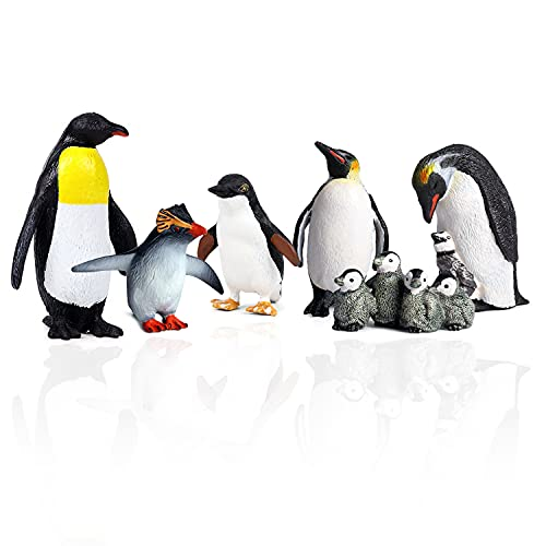 TMORU Penguin Statue Toy, Polar Animal Toy Figurines, Realistic Penguin Figurines, Educational Preschool Birthday Gift Cake Toppers for Kids, Set of 6