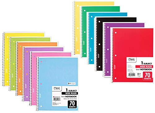 Mead Wide Ruled Spiral Notebooks, Bulk Pack of 12 Different Colors, 1-Subject Spiral Notebooks Wide Ruled, 70 Pages, Cute Single Subject Notebook Wide Ruled for Adult & Kids, School & Office Use.