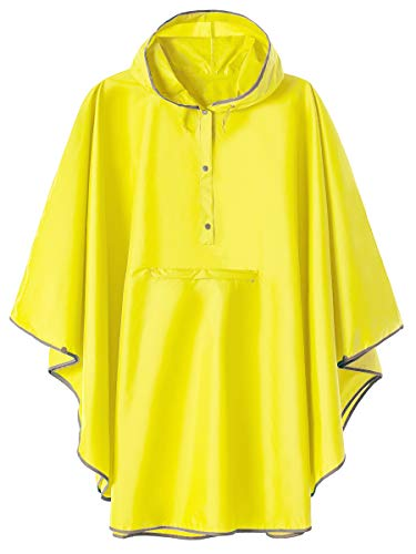 SaphiRose Hoodie Raincoat Poncho Active Outdoor Windbreaker Jacket with Front Pocket(Yellow)