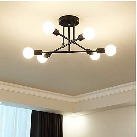 AUA Plafonnier Vintage, lampe de plafond E27, 6 bras Lustre créatif pour la maison pour lustres de chambre à coucher, ampoules non incluses