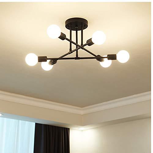 AUA Lámpara de techo vintage, lámpara de techo E27, 6 brazos, plafón creativo para la casa para lámparas de dormitorio, bombillas no incluidas