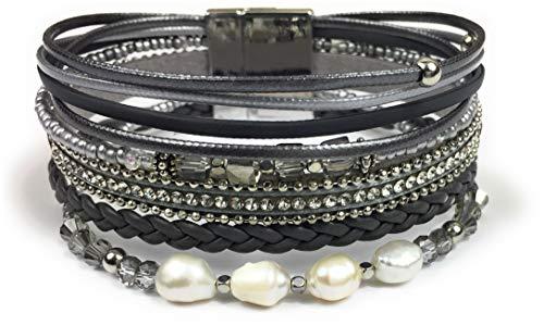 Feelinko Facettenreiches Armband Armkettchen Wickelarmband Armreif Damen Women Grau Silber