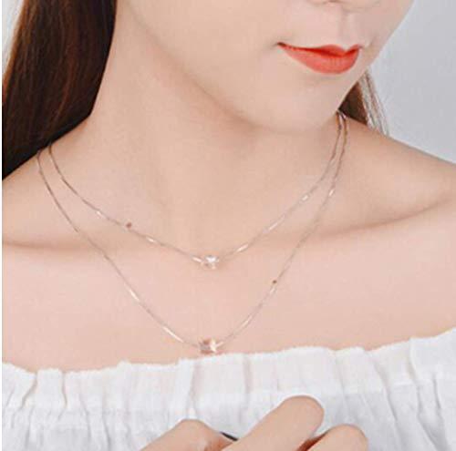 N/C Collar de Plata Cristal Encantador Cubo de Rubik Collar de Cadena Doble Joyas de Boda Collar de Plata 925 Compromiso Femenino