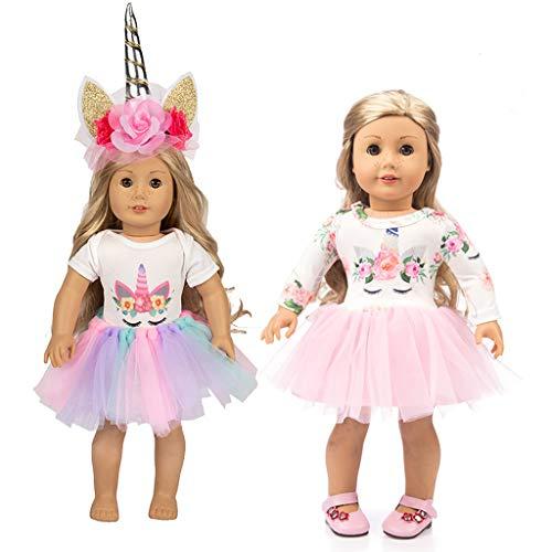 Amycute 2 Sets Vestiti per Bambole 43 cm/18 Pollici, Unicorno Vestito per American Girl Doll e Altre 42-46cm Vestiti Bambole (Stile 1)