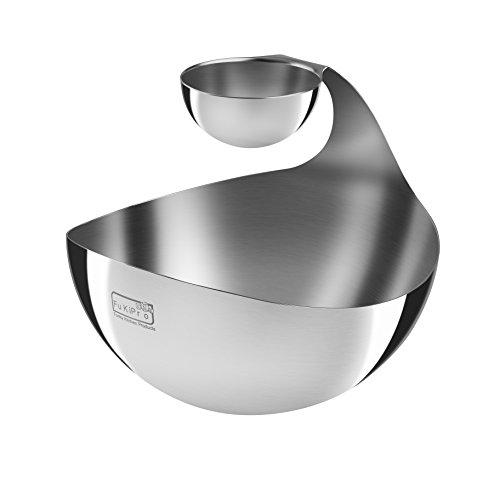 FuKiPro Funky Kitchen Products Edelstahlschale Chip and Dip - Servieren mit Stil - Seperate Dip Schale für zahlreiche Serviermöglichkeiten