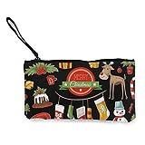Moneda de lona, bolso de Navidad con cremallera, bolsa de cosméticos de viaje multifunción, bolsa de maquillaje, bolsa de teléfono móvil, paquete de lápices con asa