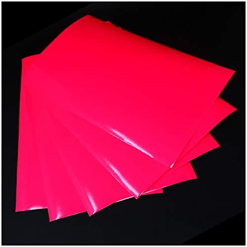 (28,80€/m²) Din A4 Bogen Bastelfolie Selbstklebend Künstlerfolie Plotterfolie Plottfolie Folie Basteln (Neon Pink, 5er Set Din A4 Bögen)