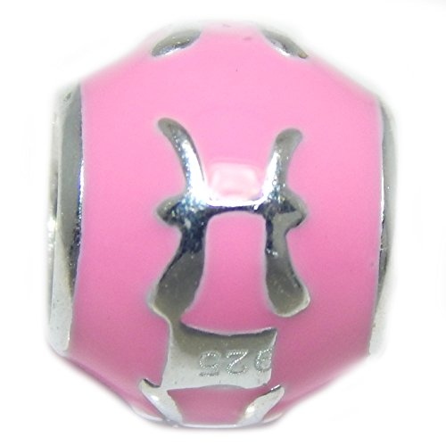 ICYROSE Solid 925 Sterling Silver Colored Zodiac Signs Charm Bead (Pink Pisces)