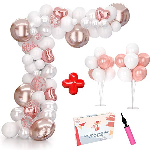 Balloon Arch Kit & Balloon Garland Kit 16Ft with Extra Balloon Stand, Heart Balloons, Pump | Video & eBook Instructions | 99 Rose Gold Pink White Pearl Confetti Balloons for Baby Shower Bridal Shower