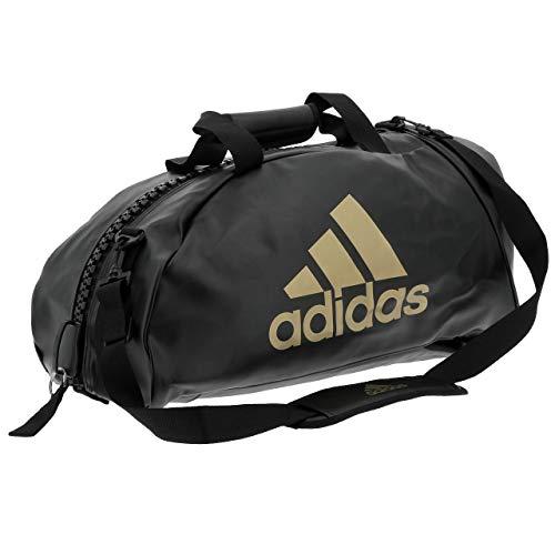 """adidas \"""" 2 in 1 \"""" PU KUNSTLEDER schwarz gold - Größe M - Tasche & Rucksack 65 x 32 cm Sportrucksack und Sporttasche Trainingstasche Rucksacktasche Kombitasche Sport Bag"""