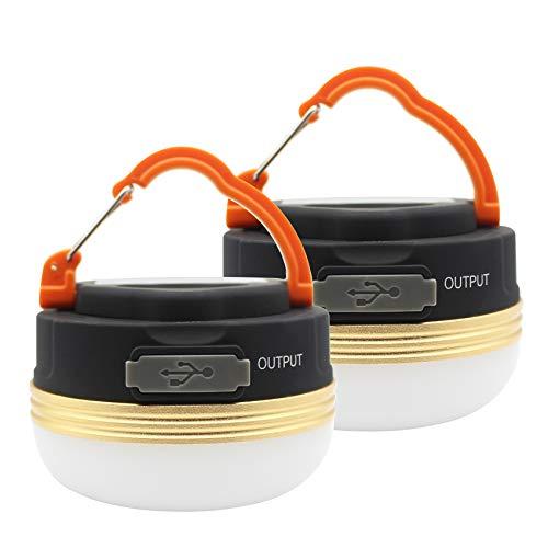 MOSTOP - Paquete de 2 farolillos de luz para Acampar, LED, USB, Recargables, a Prueba de Agua, 3 Modos, Banco de energía, Luces de Tienda para Acampar al Aire Libre, Senderismo, Emergencia