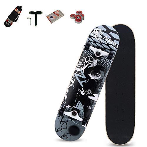 WRISCG Skateboard Komplettboard Deck Holzboard Ahornholz Doppel-Kick Skate Board, Farb- & Motivauswahl, konkave Deckform, Mit Rucksack, Handschuhe, Werkzeug, Kugellager,A