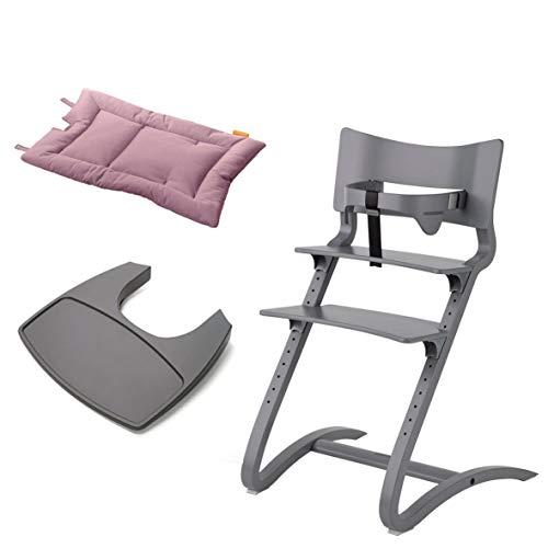 Leander Stuhl grau lackiert - Hochstuhl - Kinderstuhl - Erwachsenenstuhl mit Babybügel + Tablett grau + Kissen dusty rose