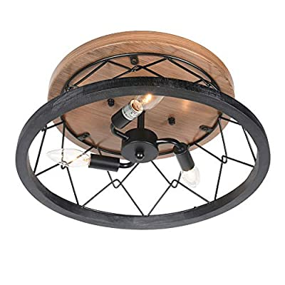Baiwaiz Rustic Flush Mount Lighting, Black Metal and Wood Farmhouse Ceiling Light Fixture Industrial Round Wire Cage Close to Ceiling Light with Faux Wood Painted Metal Canopy 3 Lights Edison E12 121B