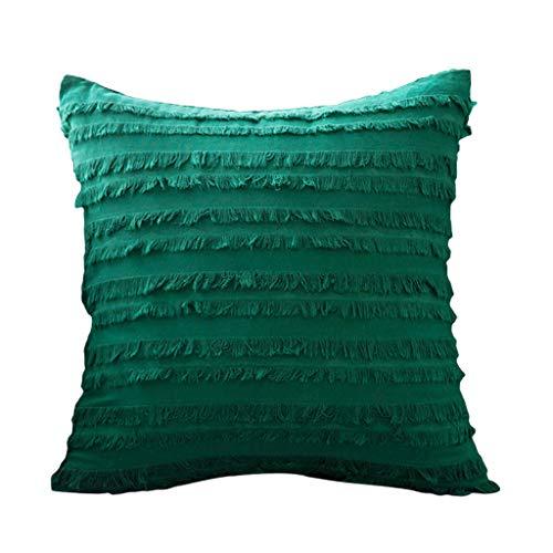 Yoging - Cojín de algodón y lino de estilo bohemio verde, bonito cojín con pompon, utilizado en la habitación de los niños, salón, comedor, cama, sofá