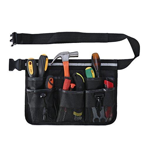 ENJOHOS Werkzeuggürtel, Werkzeugtasche 600D Oxford, Gürteltasche mit Multi-Pocket für Gartenarbeit Bauarbeiter Mechaniker Herren Damen Kinder (Schwarz)