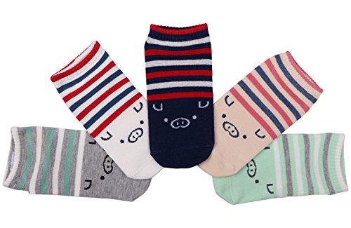 CozyWow Damen/Mädchen Süße Tier Socken mit Druck Schwein/Elefant für 35-40(5 Paar)