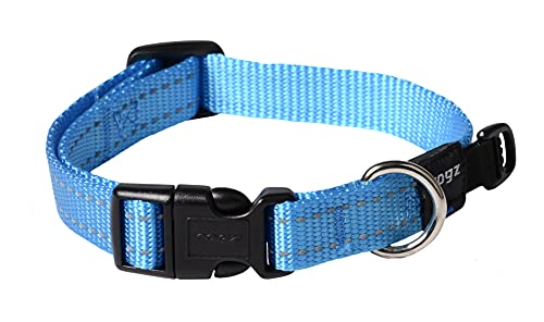 Reflective Dog Collar for Medium Dogs, Adjustable from 12-17 inches, Turquoise