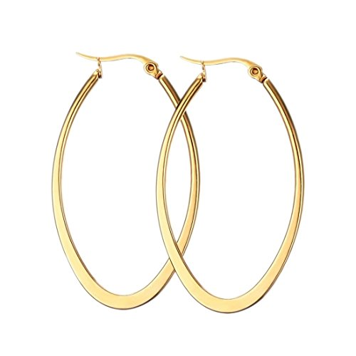 MengPa Hoop Earrings for Women Stainless Steel Gold Plated Lightweight Jewelry (Oval-Gold-48x28mm) US1281G