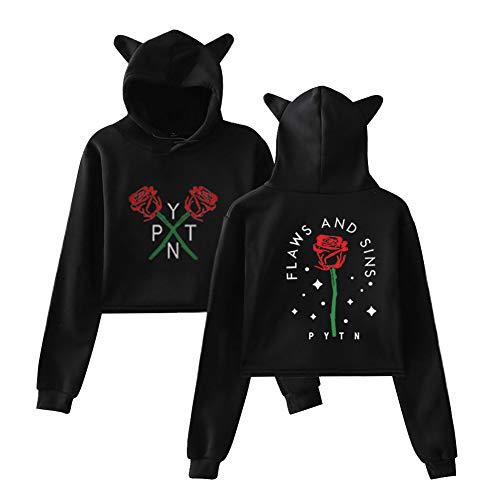 Payton Moormeier Cat Ear Crop Top Sweatshirt met Lange Mouwen Kort Teen Hoodies Tops Blouse Herfst Winter Sportwear Casual