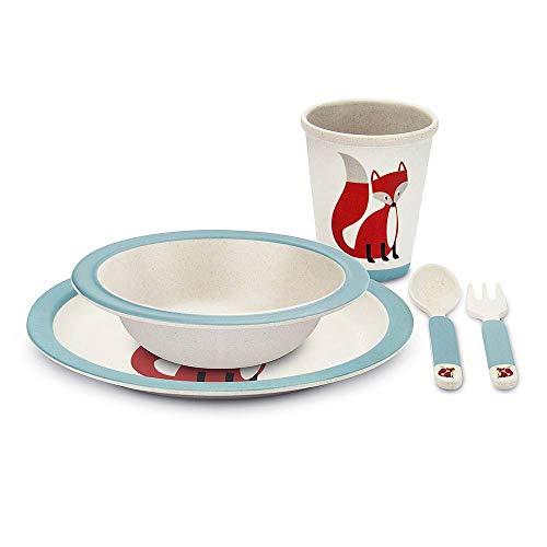 TOUS LES CADEAUX Coffret de Vaisselle pour Enfant - en Bambou - Renard