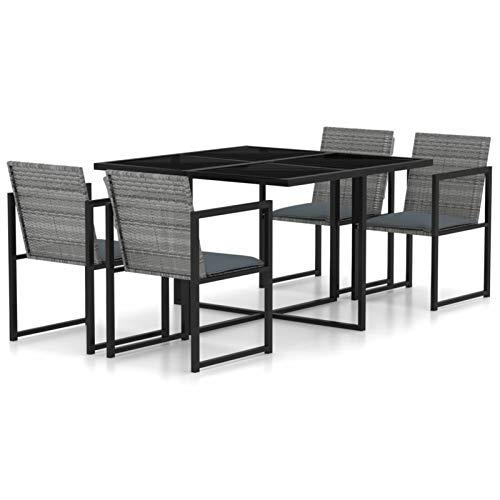 Tidyard Conjunto de Mesa sillas Mesa Salón y Sillas Muebles de Jardin Exterior Conjuntos Set de Comedor de jardín 5 pzas y Cojines ratán sintético Gris