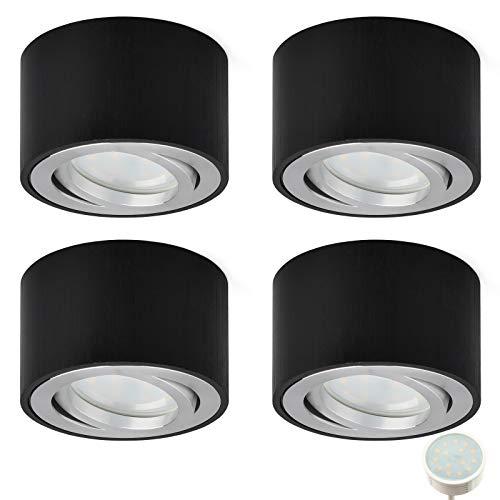 KYOTECH Focos LED Techo Focos Superficie Orientable Pack de 4 incl. Bombilla...