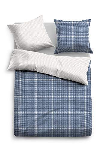 TOM TAILOR 0069942 Bettwäsche Garnitur mit Kopfkissenbezug Baumwoll-Satin 1x 135x200 cm + 1x 80x80 cm indigo blue