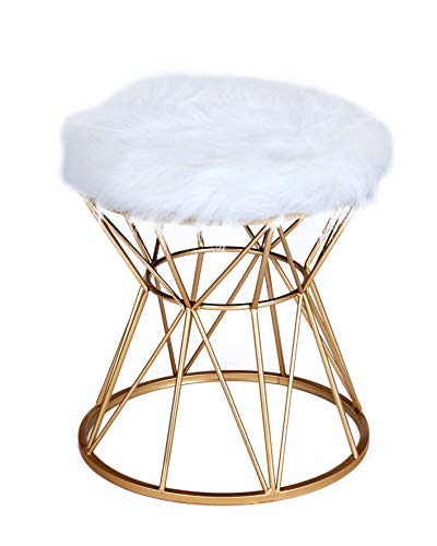 ts-ideen Polsterhocker mit Kunstfell Weiss Gold Metallgestell Rund Schemel mit Gepolsterter Sitzfläche Stuhl 49 x 40 x 40 cm