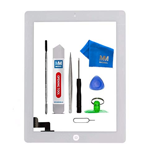 MMOBIEL Digitalizador Compatible con iPad 2 (Blanco) Ensamble Pantalla táctil Frontal 9.7 pulg 2011 Incl. Kit de htas.