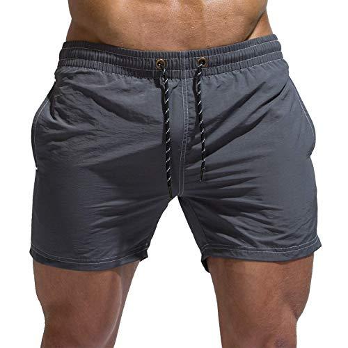 Tofern Board Corto Tinta unita Spiaggia Regolabile Coulisse Uomini Athletic Shorts Costume da bagno con Fodera in rete, Uomo, Grigio scuro, Large