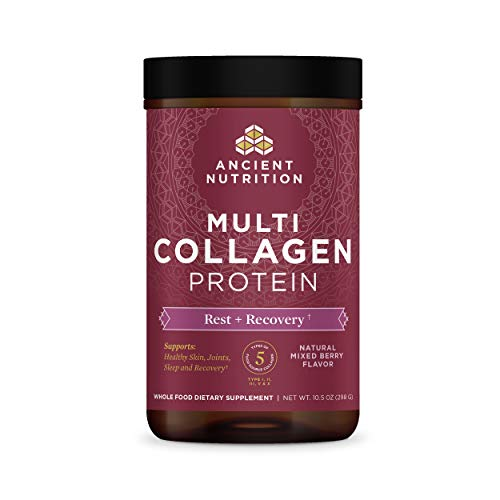 Rest + Recovery, Multi Collagen Protein Powder, Berry, Formulated by Dr. Josh Axe, Magnesium & Tart Cherry Extract Combined with Collagen Peptides, Supports Muscle Recovery, Strength & Joints 10.5 oz