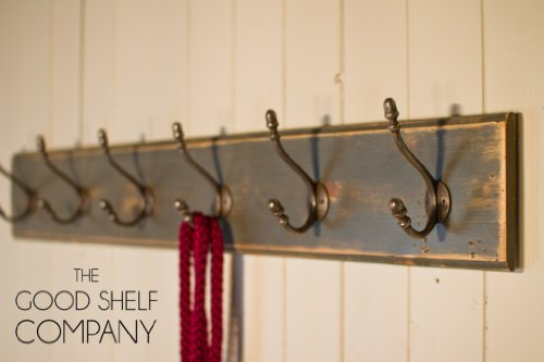 The Good Shelf Company Portemanteau Style shabby chic Gris vintage, 7 Hook - 44 Inches