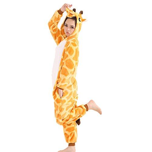 Jysport, unisex Pyjama aus Fleece mit Einhorn-Motiv und Kapuze für Kinder, Damen und Herren Medium giraffe
