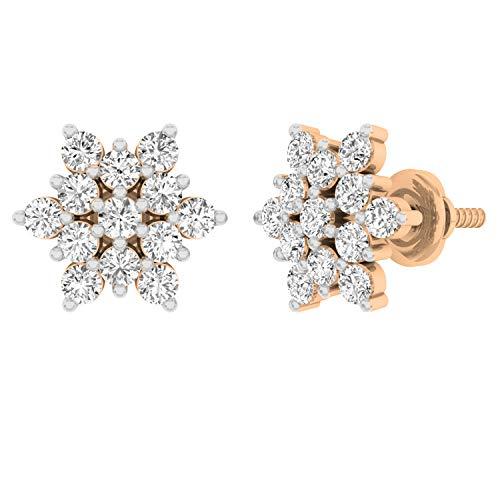 Dazzlingrock Collection Pendientes redondos de 0,80 quilates de diamantes blancos para mujer, 3/4 CT, Diamante Oro rosa, Diamond,