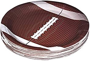 """Football Themed 9"""" Disposable Round Paper Plates –Superbowl Party Supplies Ideal for Tailgate Parties,Family Dinner and..."""