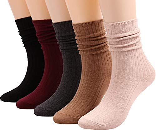 Galsang Womens Cotton Knit Crew Socks High Ankle All-Season Lightweight Casual Socks Gifts,#B32 (color 11)