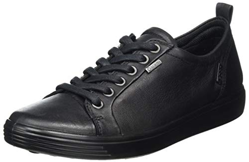 ECCO womens Soft 7 Gore-tex Tie Sneaker, Black Gore-tex, 9-9.5 US